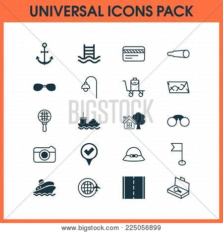 Tourism icons set with roadmap, sunglasses, tanker and other shipping tour elements. Isolated vector illustration tourism icons.