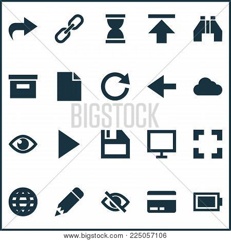 Interface icons set with battery, reload, edit and other storage  elements. Isolated vector illustration interface icons.