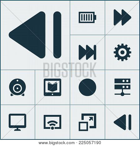 Multimedia icons set with enlarge, learning, fast forward and other e-reader elements. Isolated vector illustration multimedia icons.