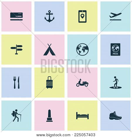Journey icons set with anchor, moped, passport and other aircraft elements. Isolated vector illustration journey icons.