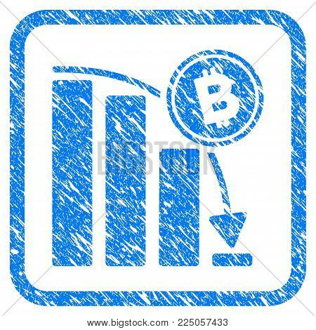Bitcoin Epic Fail Chart rubber seal stamp imitation. Icon vector symbol with grunge design and corrosion texture in rounded frame. Scratched blue stamp imitation on a white background.