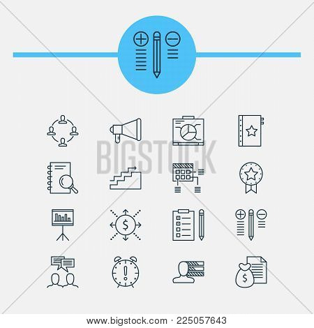 Management icons set with quality management, goal, best solution and other warranty elements. Isolated vector illustration management icons.