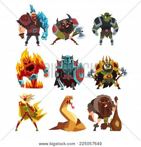 Collection with fantasy creatures and humans. Orc, warrior in armor, fire monster, snake, viking, giant, wild man. Colorful design elements for mobile computer game. Cartoon flat vector illustration.