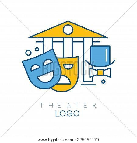 Abstract logo design with columns, hat-cylinder, bow tie, theatrical happy and sad masks. Creative line art with yellow and blue fill. Design for theater group. Vector illustration isolated on white.