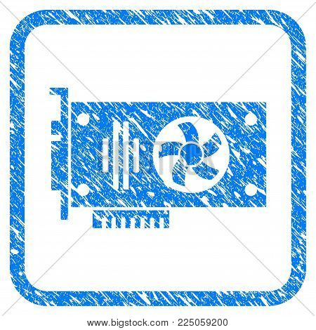 Videocard rubber seal stamp watermark. Icon vector symbol with grunge design and dirty texture in rounded frame. Scratched blue sign on a white background.