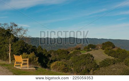 Bench at lookout point with a beautiful view