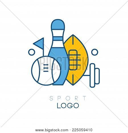 Hobby logo template with sports equipment. Bowling skittle, flag, barbell, balls for baseball and American football. Linear design for sports section. Vector illustration isolated on white background.