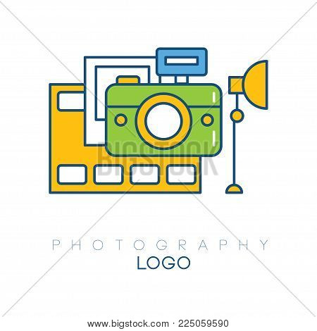 Creative logo template with camera, film strip, light box and picture. Linear emblem with yellow, blue and green fill. Concept of hobby. Design for photo studio. Vector illustration isolated on white.