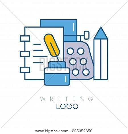 Hobby logo template with notebook, feather in inkwell, mechanical desktop typewriter and pencil. Linear emblem with colorful fill. Design for writers club. Vector illustration isolated on white.