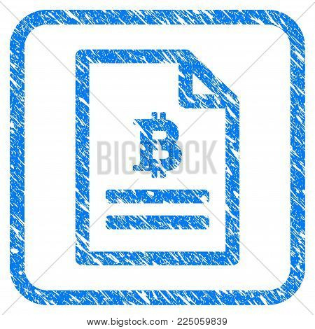 Bitcoin Price Page rubber seal stamp imitation. Icon vector symbol with grunge design and dust texture inside rounded squared frame. Scratched blue sticker on a white background.