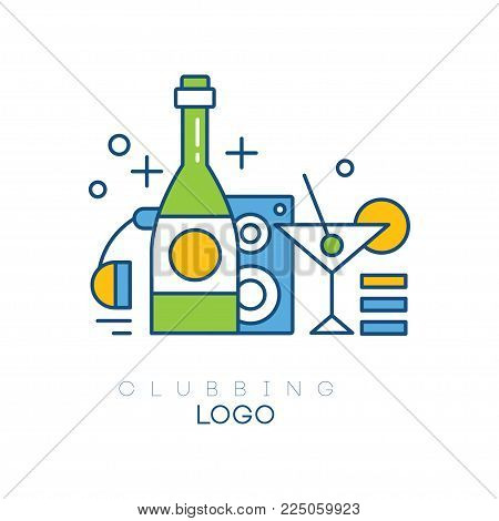 Colorful hobby logo template. Linear emblem with headphones, bottle with alcoholic drink, subwoofer and glass of martini with olive. Clubbing concept. Vector illustration isolated on white background.
