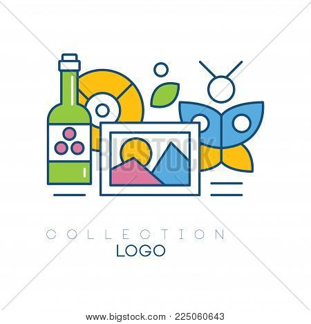 Original hobby emblem with bottle of wine, photograph, butterfly and vinyl record. Simple linear icon with colorful fill. Concept of collecting. Vector illustration isolated on white background.
