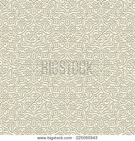Vintage beige ornamental background, embossed paper texture, vector seamless pattern in light color