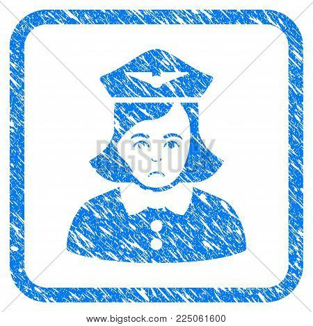 Airline Stewardess rubber seal stamp imitation. Icon vector symbol with grunge design and corrosion texture in rounded frame. Scratched blue sign on a white background. poster