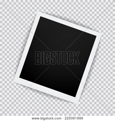 Old empty realistic photo frame with transparent shadow on plaid black white background. Photo border with paper clip to family album. Vector illustration for your design and business.