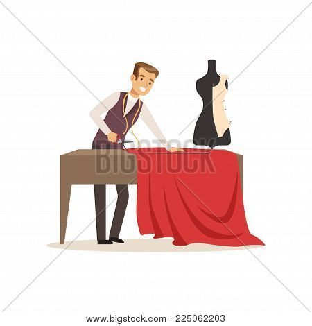 Male dressmaker making out clothes on the table, clothing designer or tailor working at atelier vector Illustration on a white background