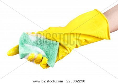 washcloth for washing dishes in hand on white background, isolated