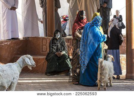 Nizwa, Oman, Febrary 2nd, 2018: Omani Women At A Market