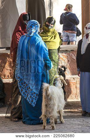 Nizwa, Oman, Febrary 2nd, 2018: Omani Woman At A Market