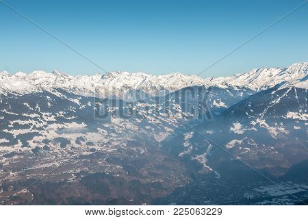 Snow on the top of the mountains and nice view down the valley