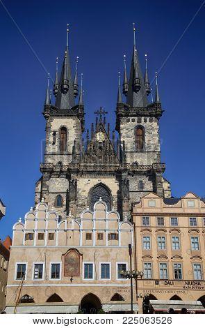 PRAGUE, CZECH REPUBLIC - AUGUST 24, 2016: View of Church of our Lady Tyn in Prague, Czech Republic