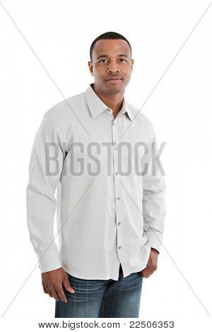 Natural Serious Looking Young African American Male Model on Isolated Background