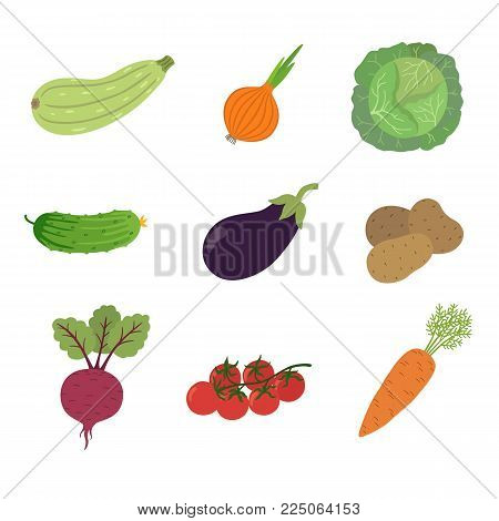 Vegetables icons set in cartoon style. Beets, zucchini, potatoes, tomato, onion, eggplant, cabbage, cucumber, carrots. Collection farm product for restaurant menu, market label. Vector illustration in flat style isolated on white background