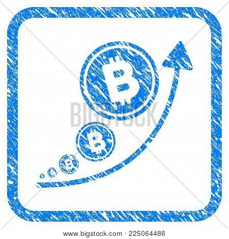 Bitcoin Inflation Trend rubber seal stamp imitation. Icon vector symbol with grunge design and dust texture in rounded squared frame. Scratched blue emblem on a white background.