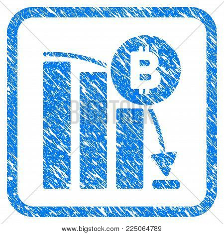 Bitcoin Panic Fall Chart rubber seal stamp watermark. Icon vector symbol with grunge design and dirty texture inside rounded square frame. Scratched blue emblem on a white background.