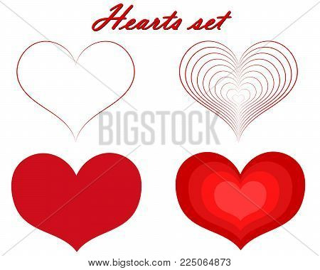 Hearts Valentine's Day set on white isolated background.