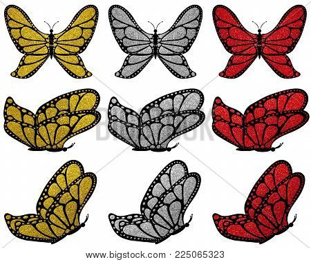 Gold, silver and red glitter patterned butterfly set on white isolated background, 9 pcs.