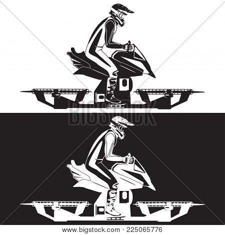 Vector illustration of hover bike rider in riding suit and protective gear riding hoverbike, the next generation of transportation. Black and white templates.