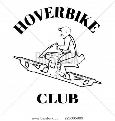 Vector illustration of hover bike rider in riding suit and protective gear riding hoverbike, the next generation of transportation. Hoverbike club design template.