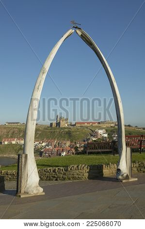 Whale Bone Arch West Cliff Whitby Fishing Village Yorkshire England