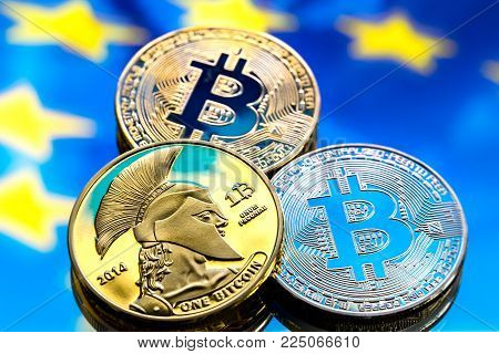 Bitcoin Coins On The Background Of The Israeli Flag, The Concept Of Virtual Money, Close-up.