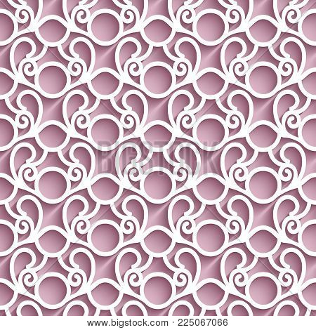Cutout paper pattern, lace texture, swirly tulle background, seamless ornament in pink color