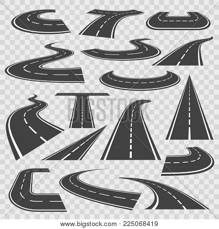 Bending roads and high ways. Road curves geometric design, street intersection, connecting major towns or cities. Vector flat style cartoon illustration