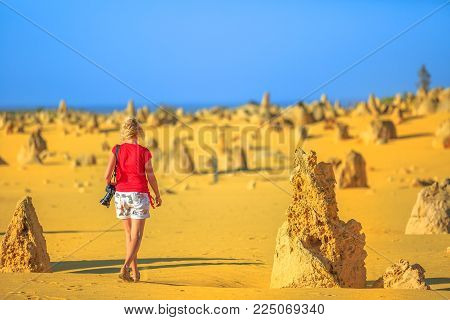 Western Australia travel discovery concept. Traveler woman photographer walks through Pinnacles Desert, Nambung National Park, Cervantes. Female with professional camera among limestone formations, WA poster