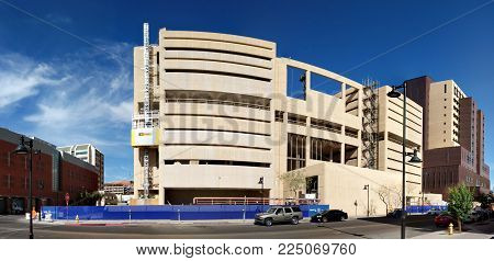PHOENIX, AZ - JANUARY 30, 2018: Reconstruction of former jail house into modern business offices at Jackson Street in Phoenix downtown next to 4th Avenue jail, Arizona capital city