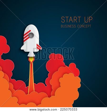 Paper art of space shuttle launch to the sky. Night sky, fluffy clouds. Rocket launch. Start up business concept and exploration idea