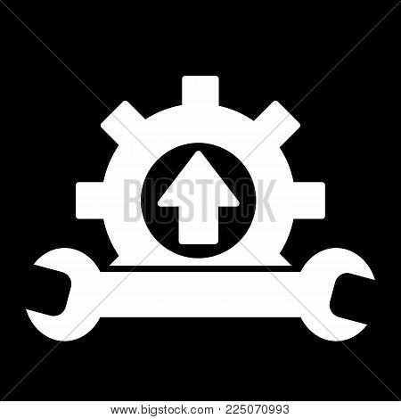Wrench and gear icon, a symbol of development and customization. Cursor of car service. Flat solid vector icon. Eps 10