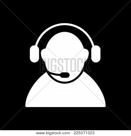 Call center icon vector. Manager of call center, operator, support. Flat linear solid icon isolated on black. Eps 10.