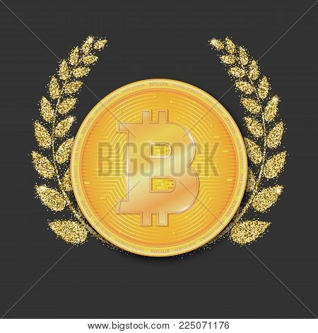 Coin of virtual currency Bitcoin. Icon, golden money symbol of bitcoin on the dark background with Laurel wreath of Golden sand, dust. Symbol of technology. Digital currency, cryptocurrency.