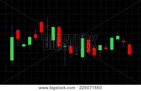Business candle stick graph chart of stock market on dark background.