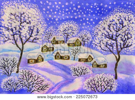 Hand painted Christmas picture, winter landscape with houses and trees in blue colours, used watercolour, gouache, acrylic.