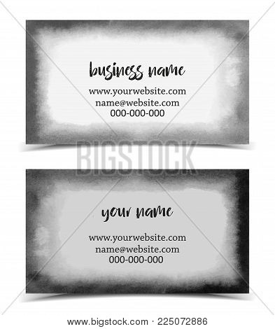 Set of vector business card watercolor design, hand drawn illustration