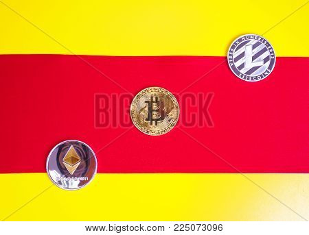 Crypt currencies crosses the white line on a yellow background. The concept of crypt currencies.