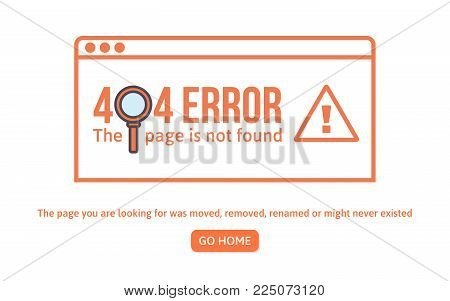 404 error design template. 404 page is not found concept linear style. Page is lost. Website design error. Vector illustration.