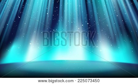 Empty blue stage with a dark background, illuminated by a bright spotlight, a place surrounded by a glowing plasma