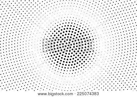 Black White Dotted Halftone Vector Background. Round Rough Dotted Gradient. Minimalistic Halftone Po